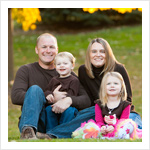 Outdoor family portrait in Crystal Lake IL at Veteran's Acres in the fall.
