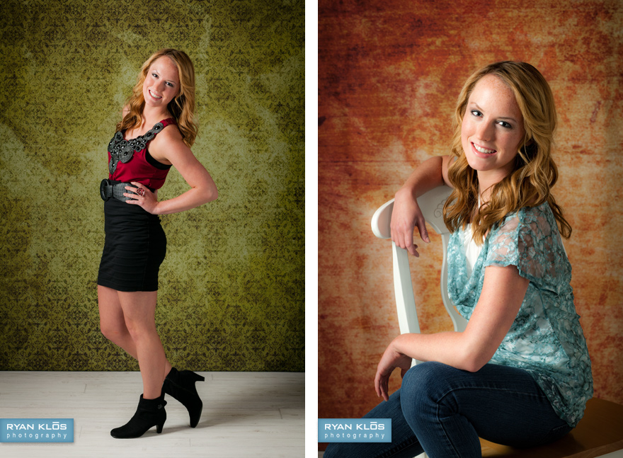 Studio portraits with backgrounds by WHCC. Photography by Ryan Klos Photography.